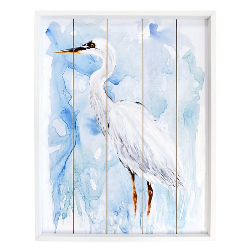 New View Egret Bird Planked Wall Decor