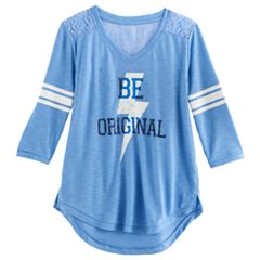 Girls 7-16 SO® 3/4-Sleeve Lace Sporty Tee