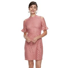 Women's Sharagano Crochet Lace Cold-Shoulder Dress