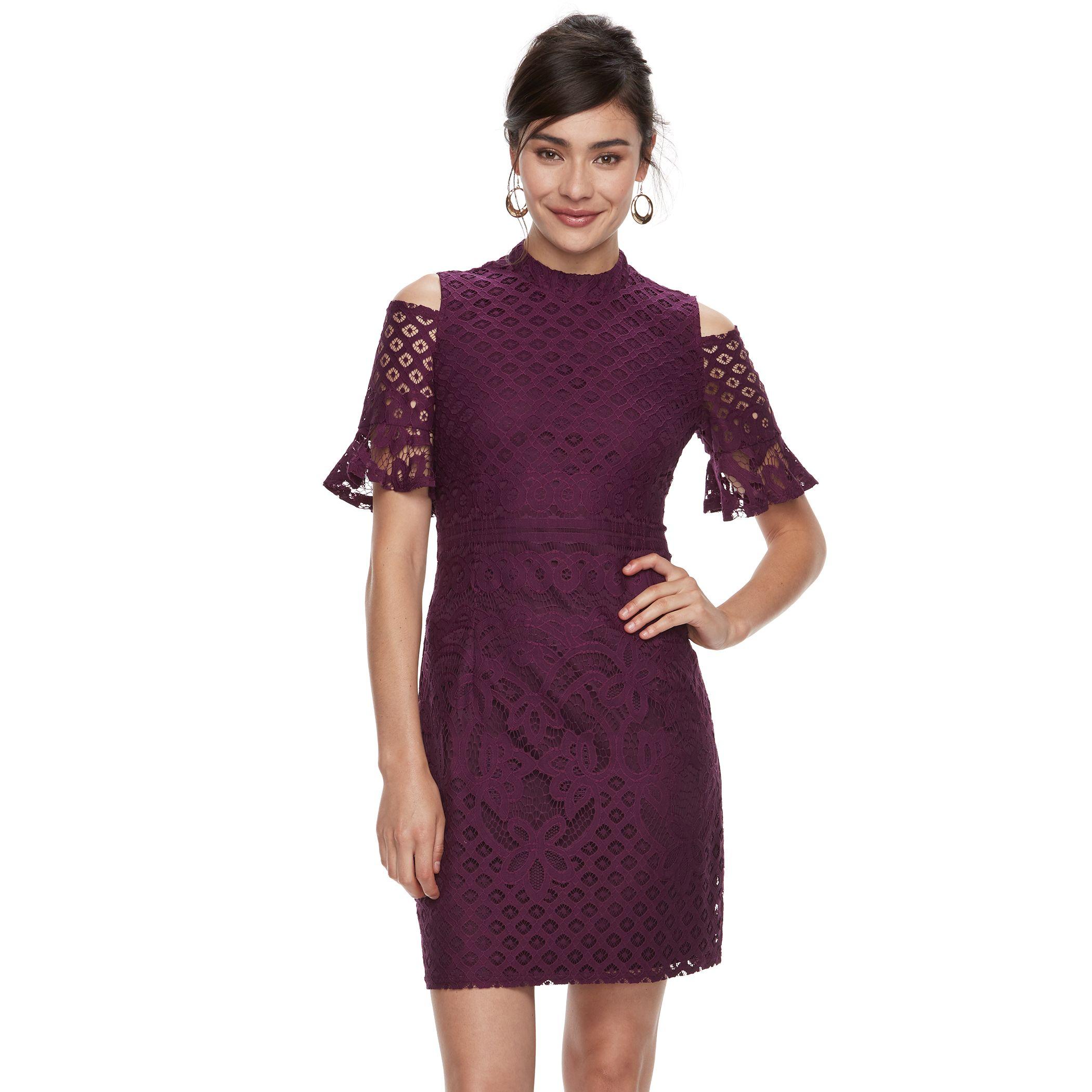 Womenu0027s Sharagano Crochet Lace Cold Shoulder Dress. Purple Navy Pink Good Looking