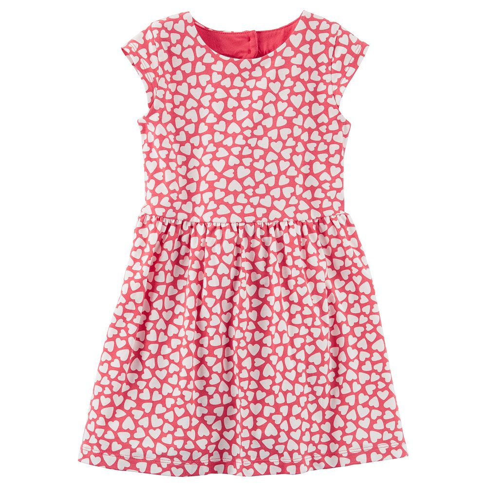 Girls 4-8 Carter\'s Heart Cutout Printed Dress