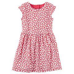 Girls 4-8 Carter's Heart Cutout Printed Dress