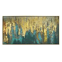 New View Abstract Metallic Framed Canvas Wall Art