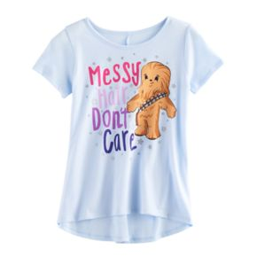 """Girls 7-16 Star Wars """"Messy Hair Don't Care"""" Chewbacca Graphic Tee"""