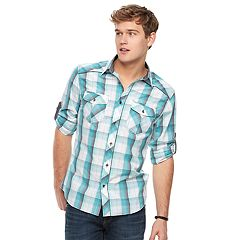 Men's Rock & Republic Plaid Roll-Sleeve Button-Down Shirt
