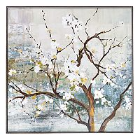New View Metallic White Blossom Tree Framed Canvas Wall Art