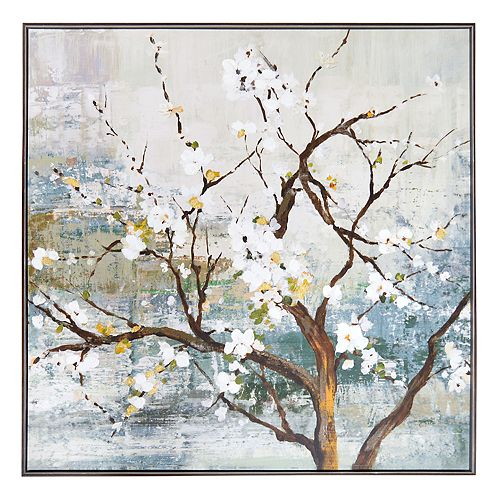 New View Metallic White Blossom Tree Framed Canvas Wall Art