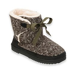 Women's Dearfoams Marled Knit Front-Tie Boot Slippers
