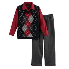 Boys 4-20 Van Heusen Argyle Sweater Vest 3-Piece Set