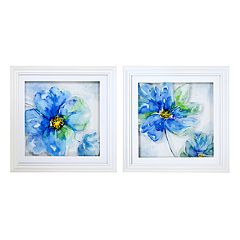 New View Blue Floral Framed Wall Art 2 pc Set