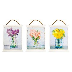 New View Floral Wood Wall Decor 3-piece Set