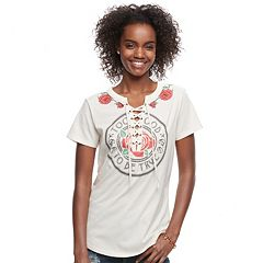 Juniors' Lace-Up 'Too Good To Be True' Graphic Tee