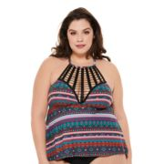 Plus Size Costa Del Sol Striped Cage-Front Tankini Top