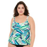 Plus Size Costa Del Sol Palm Leaf Tankini Top