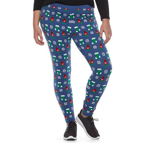 Juniors' Plus Size It's Our Time Print Holiday Leggings