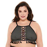 Plus Size Costa Del Sol Crochet High-Neck Bikini Top