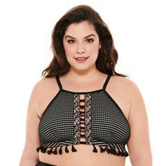 4223b47fd4 Plus Size Costa Del Sol Crochet High-Neck Bikini Top