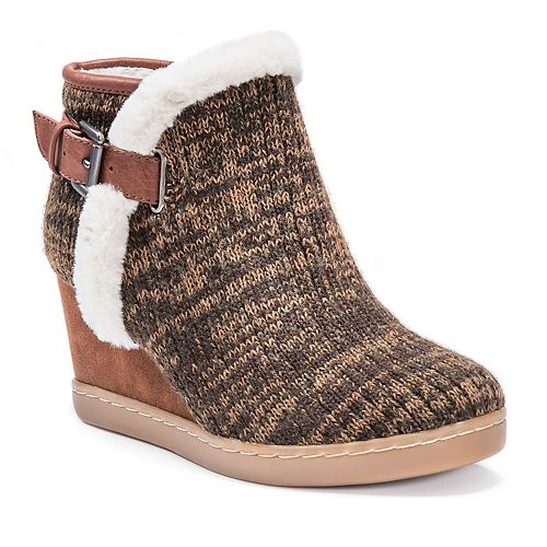MUK LUKS AnnMarie Women's Wedge Water Resistant Ankle Boots