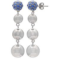 Brilliance Silver Plated Disc Drop Earrings with Swarovski Crystals