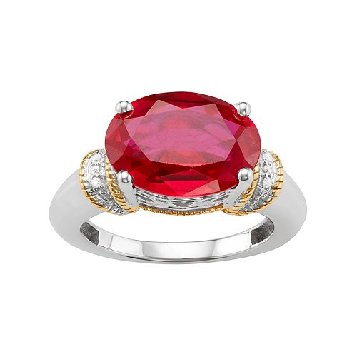 Two Tone Sterling Silver Lab-Created Ruby & Diamond Accent Ring