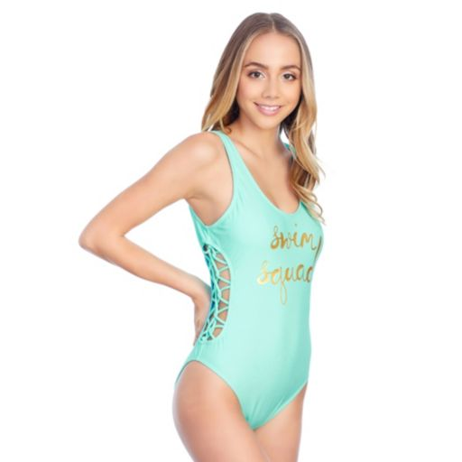 Juniors' Island Soul Strappy Graphic One-Piece Swimsuit