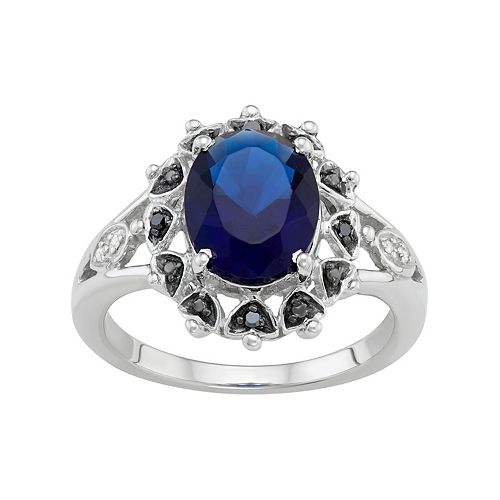 Sterling Silver Lab-Created Sapphire & Black & White Diamond Accent Ring