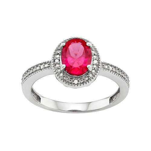 Sterling Silver Lab-Created Ruby & Diamond Accent Oval Halo Ring