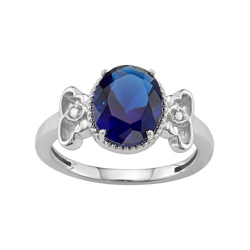 Sterling Silver Lab-Created Sapphire & Diamond Accent Ring