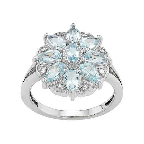Sterling Silver Aquamarine & Diamond Accent Flower Ring