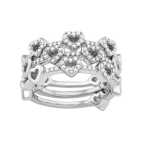Sterling Silver 1/3 Carat T.W. Diamond Heart Stack Ring Set