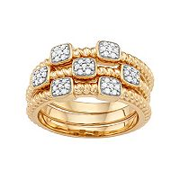 Sterling Silver 1/5 Carat T.W. Diamond Rope Stack Ring Set