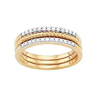 Sterling Silver 1/4 Carat T.W. Diamond Textured Stack Ring Set