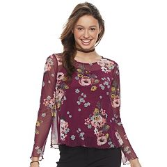 Juniors' Love, Fire Floral Mesh Top