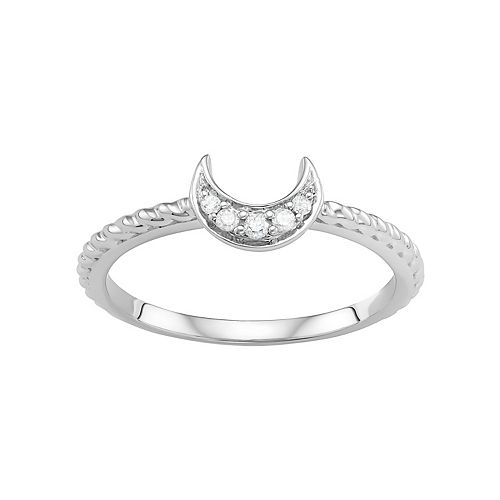 Sterling Silver Diamond Accent Half Moon Ring