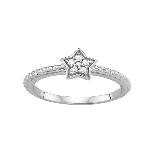 Sterling Silver Diamond Accent Star Ring