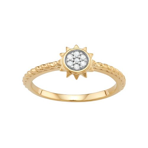 Sterling Silver Diamond Accent Sun Ring