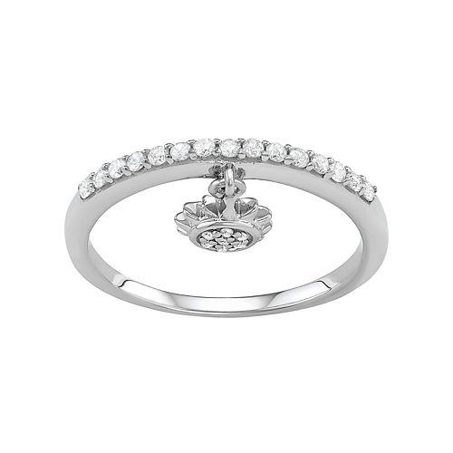 Sterling Silver 1/5 Carat T.W. Diamond Sun Charm Ring