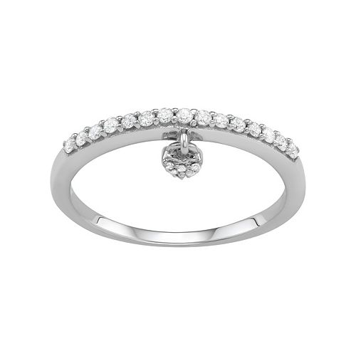 Sterling Silver 1/5 Carat T.W. Diamond Heart Charm Ring