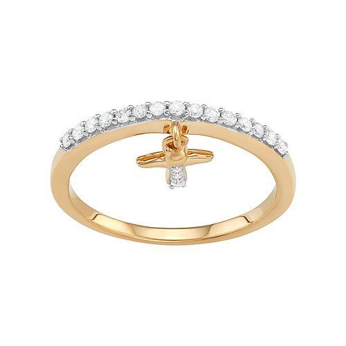 Sterling Silver 1/5 Carat T.W. Diamond Angel Charm Ring