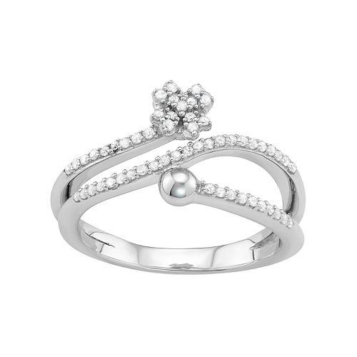 Sterling Silver 1/4 Carat T.W. Diamond Bypass Flower Ring