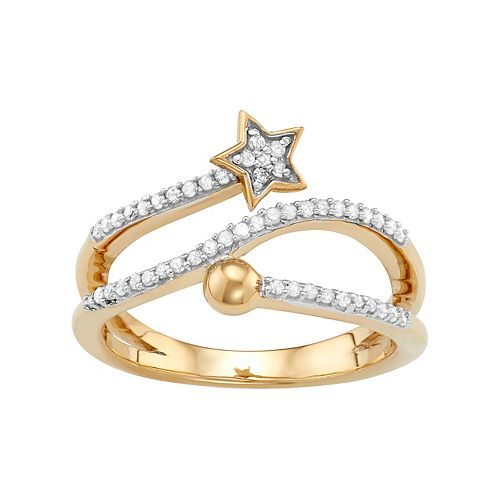 Sterling Silver 1/4 Carat T.W. Diamond Bypass Star Ring