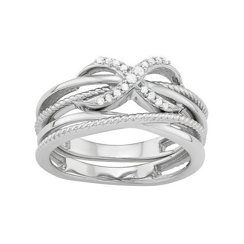 Sterling Silver 1/10 Carat T.W. Diamond Infinity Ring Set