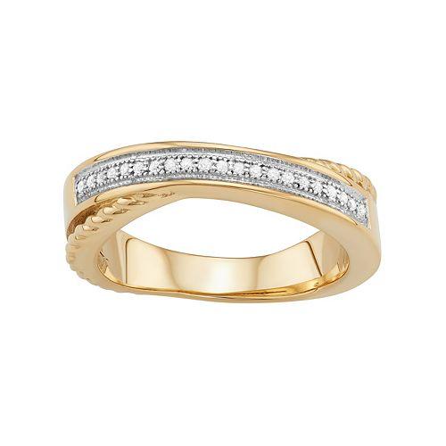 Sterling Silver 1/10 Carat T.W. Diamond Crisscross Ring