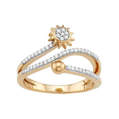 Sterling Silver 1/4 Carat T.W. Diamond Sun Bypass Ring