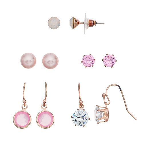 Rose Gold Tone Pink Simulated Crystal & Pearl Nickel Free Earring Set