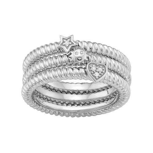 Sterling Silver Diamond Accent Heart, Sun & Star Stack Ring Set