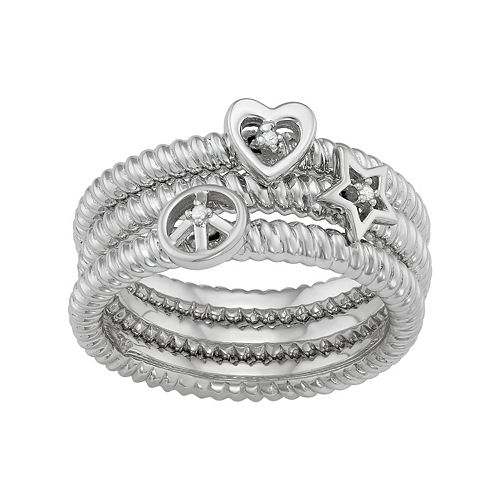 Sterling Silver Diamond Accent Heart, Star & Peace Sign Stack Ring Set
