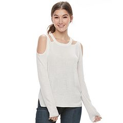 Juniors' Pink Republic Cold-Shoulder Sweater