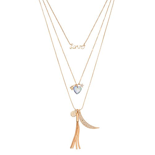 """""""Love,"""" Crescent, Heart & Star Charm Layered Necklace"""