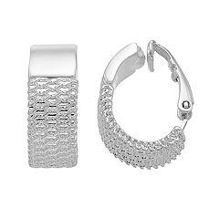 Dana Buchman Silver Threaded J Hoop Clip-On Earrings